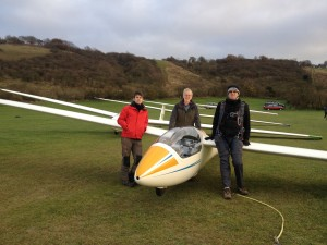 John, Andrew and Yoav at London Gliding Club, Dunstable